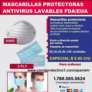 Mascarillas protectoras antivirus lavables
