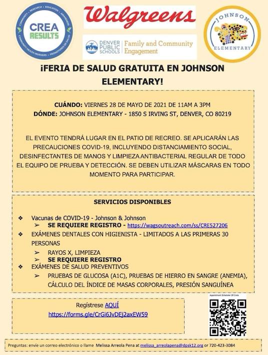Participe en la jornada de vacunación, salud dental e integral en Johnson Elementary