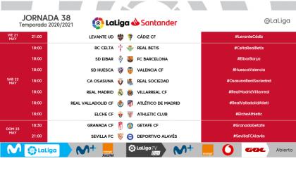 El campeón del fútbol español se conocerá en la última jornada