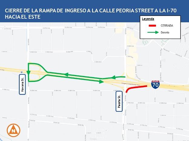 Cierran de carriles y de rampas sobre la I-70 hasta el 11 de octubre